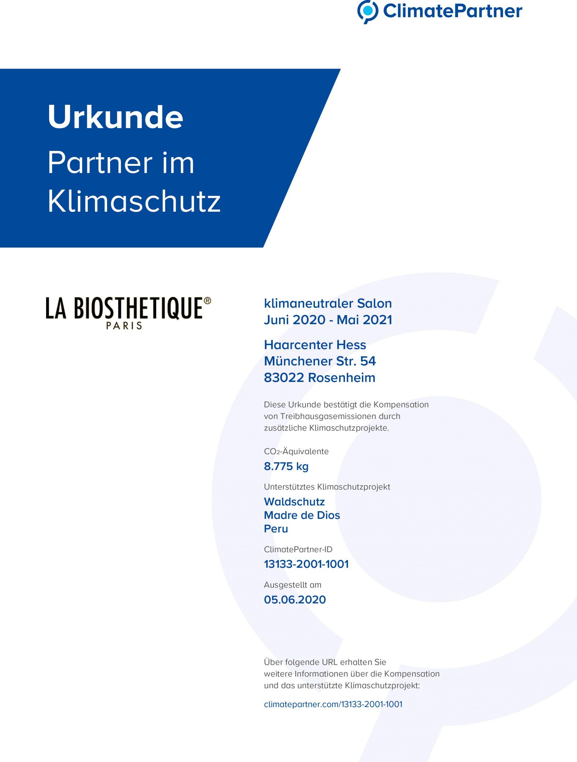 Zertifikat für Klimaneutralen Salon   Haarcenter Hess